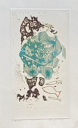 rare abstract etching in greens and sepia tones by contemporary Japanese print artist USHIKU Kenji as part of the special offerings available from The Tolman Collection of New York