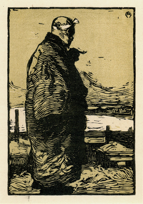 a Japanese woodblock print of a fisherman in gray and taupe tones