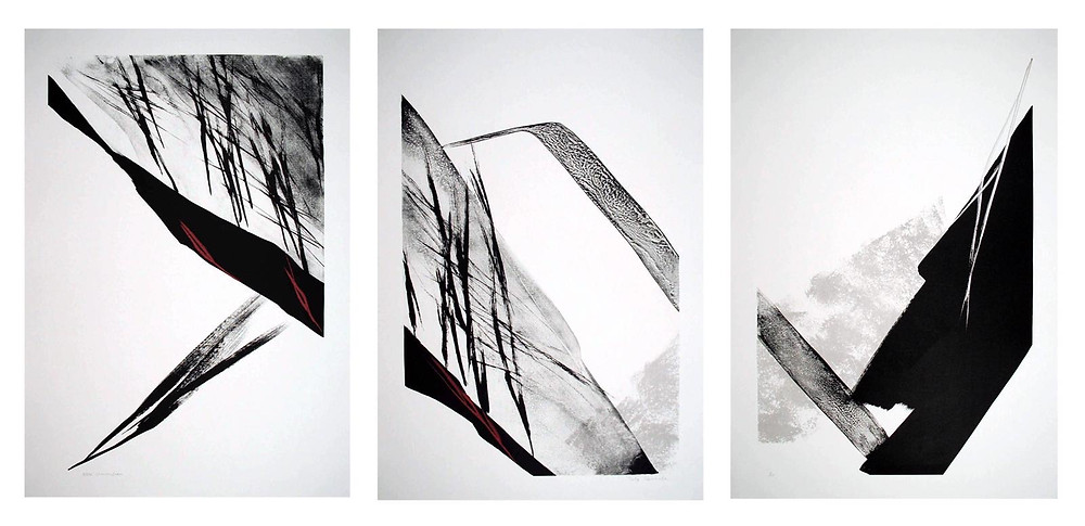 a tryptich of abstract lithographs by renowned contemporary artist SHINODA Toko in many shades of muted gray.t