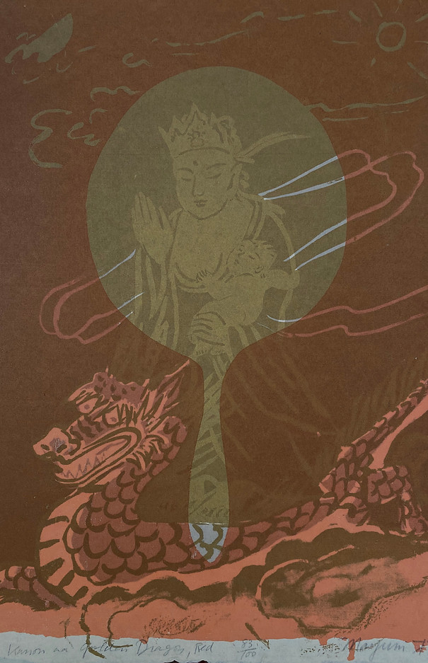 Kannon with Golden Dragon, Red