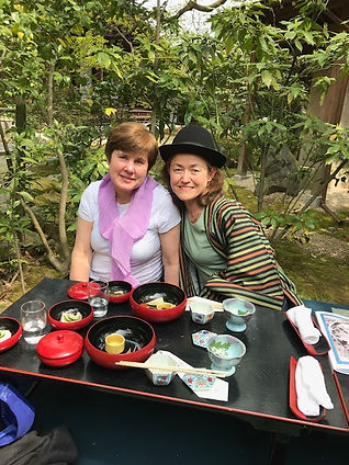 photograph of contemporary Japanese print dealer Allison Tolman of The Tolman Collection of New York with artist Sarah Brayer