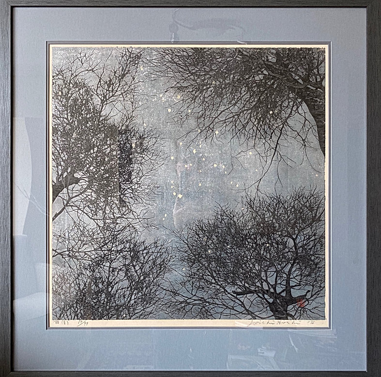rare woodblock in black and gray tones of tree tops and a starry sky by contemporary Japanese print artist HOSHI Joichi as part of the special offerings available from The Tolman Collection of New York