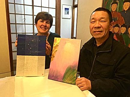 photograph of contemporary Japanese print dealer Allison Tolman of The Tolman Collection of New York with artist TAMEKANE Yoshikatsu