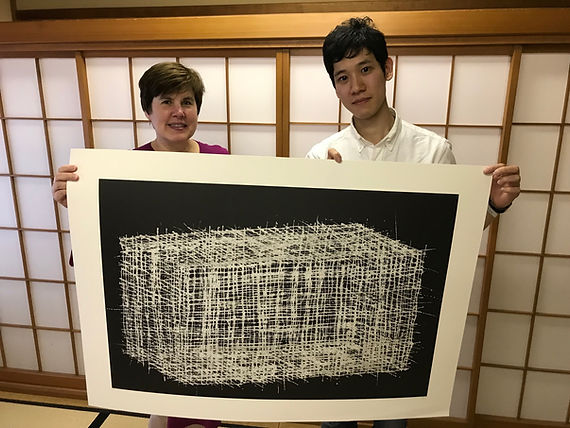 photograph of contemporary Japanese print dealer Allison Tolman of The Tolman Collection of New York with artist NISHIMURA Ryo