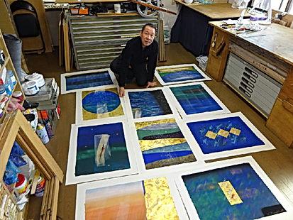 photograph by contemporary Japanese print dealer Allison Tolman of The Tolman Collection of New York of artist TAMEKANE Yoshikatsu in his studio