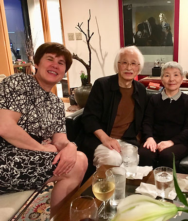 photograph of contemporary Japanese print dealer Allison Tolman of The Tolman Collection of New York with artist ENDO Susumu and his wife