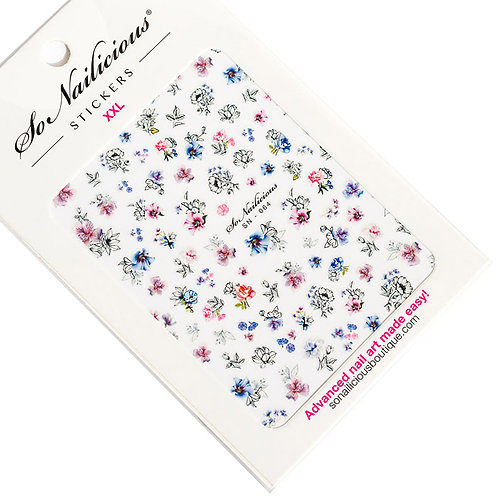 SN Ink and Watercolour Flowers Nail Stickers