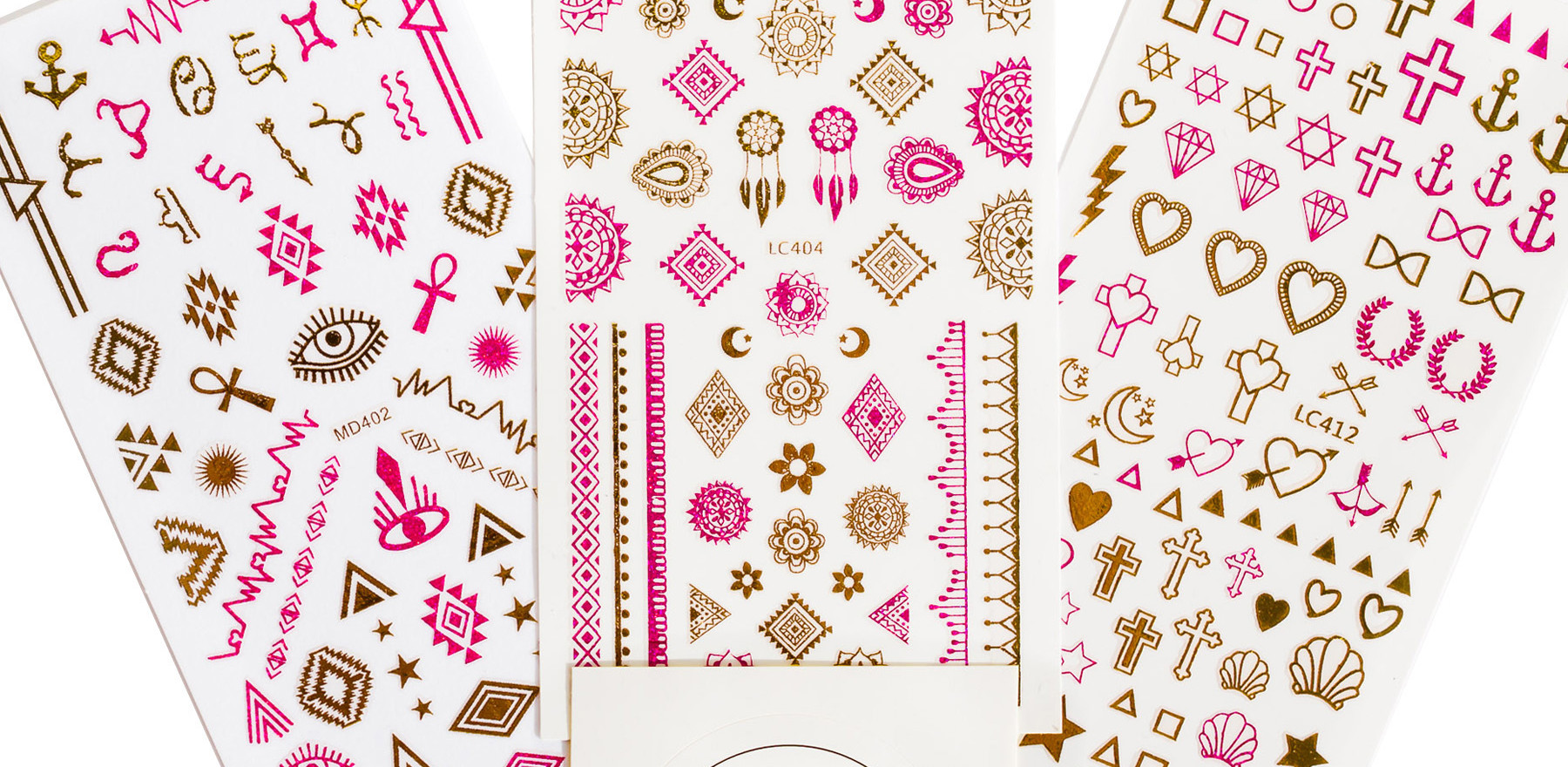 Gold and Pink Foil Nail Stickers
