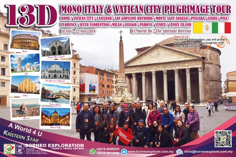 13 Days 10 Nights Mono Italy + Vatican C