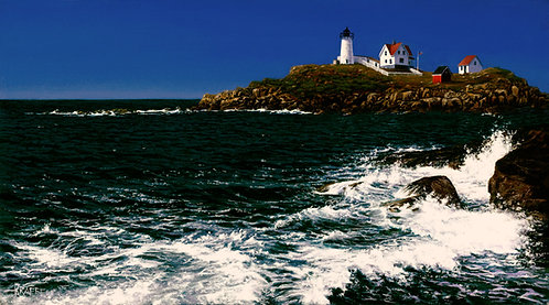 "Cape Neddick Shoreline 10"" x 18"" canvas reproduction"