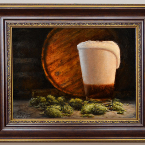 Pint With Hops framed