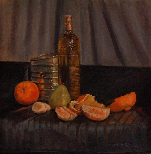 Bottle, Sifter & Oranges