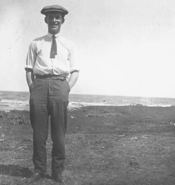 between 1910 and 1920   Man at the beach