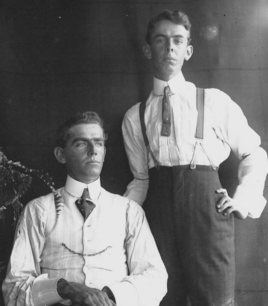 Two men photographed in studio style, 1890-1900