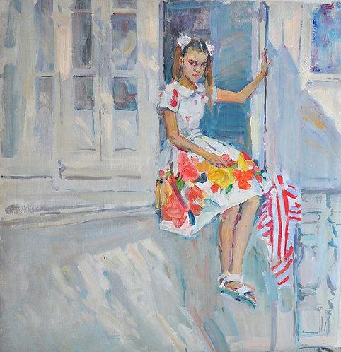 Margot on a Balcony by YAROSLAVA TICHSHENKO