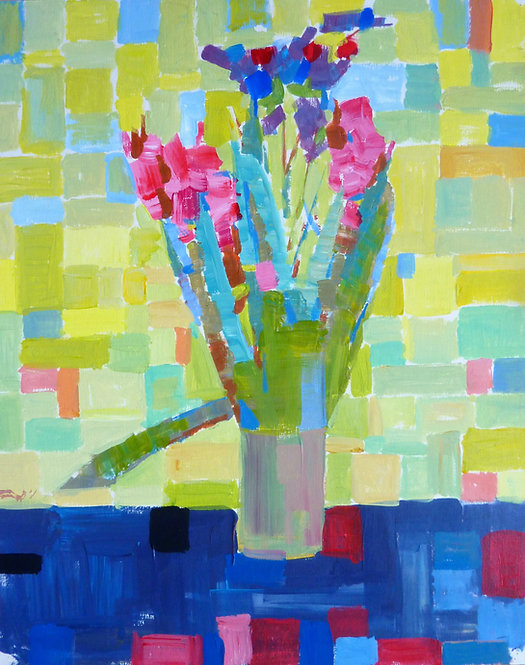 A Vase With Flowers (Green and Yellow) by NIKOL KLAMPERT