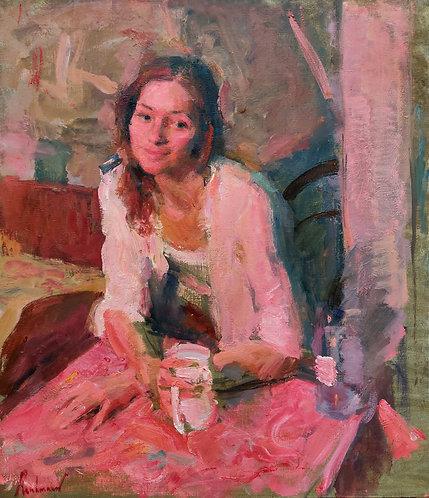 Portrait of Galina Under a Red Light by SAMIR RAKHMANOV