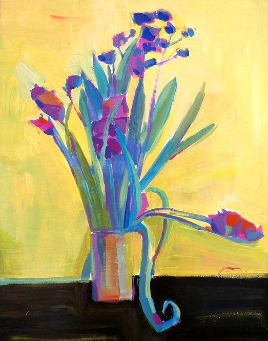 Purple Flowers on Yellow Background by NIKOL KLAMPERT