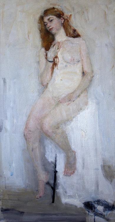 Nude Against a White Background by YURIY USHAKOV