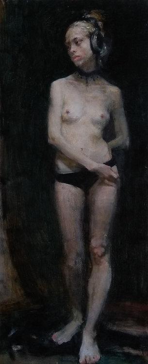 Nude With Headphones by YURIY USHAKOV