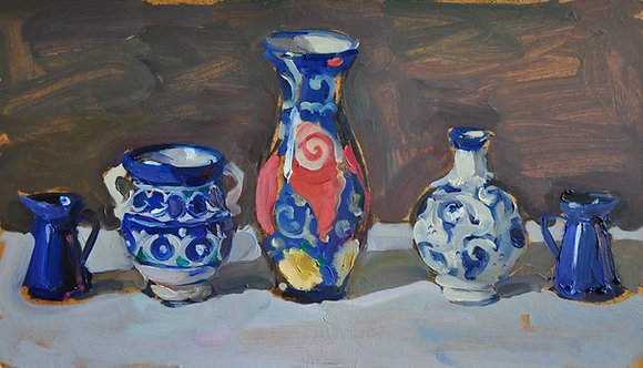 Blue Vases by YAROSLAVA TICHSHENKO