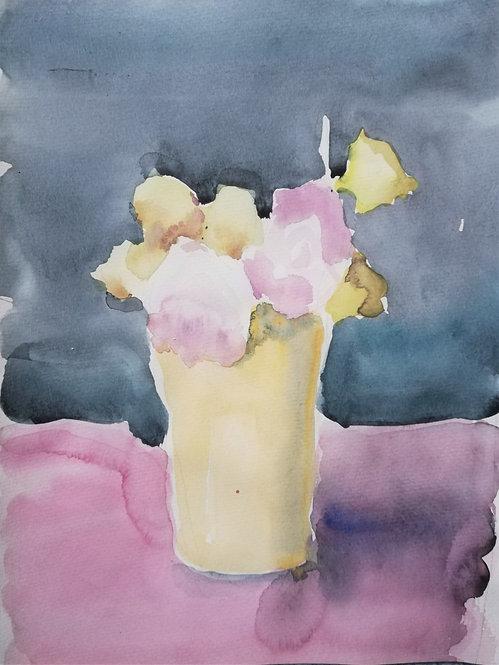 Roses in a Yellow Pot by YAROSLAVA TICHSHENKO