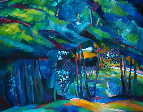 Blue Evening at the Gardenings Lake by NIKOL KLAMPERT