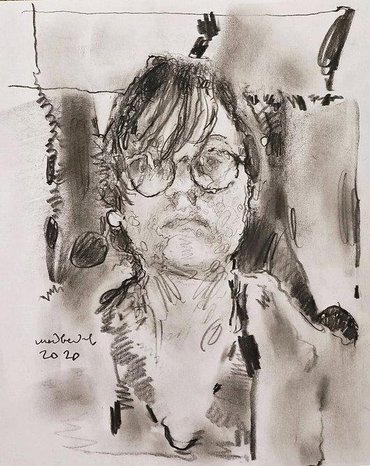 Graphite Self-Portrait by EUGENY MEDVEDEV