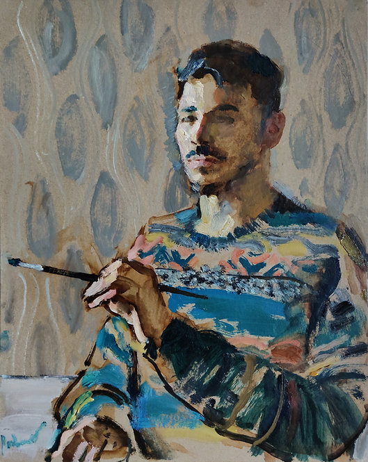 Self-Portrait in a Sweater by SAMIR RAKHMANOV