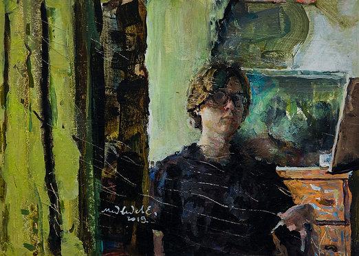 Green Self Portrait by EUGENY MEDVEDEV