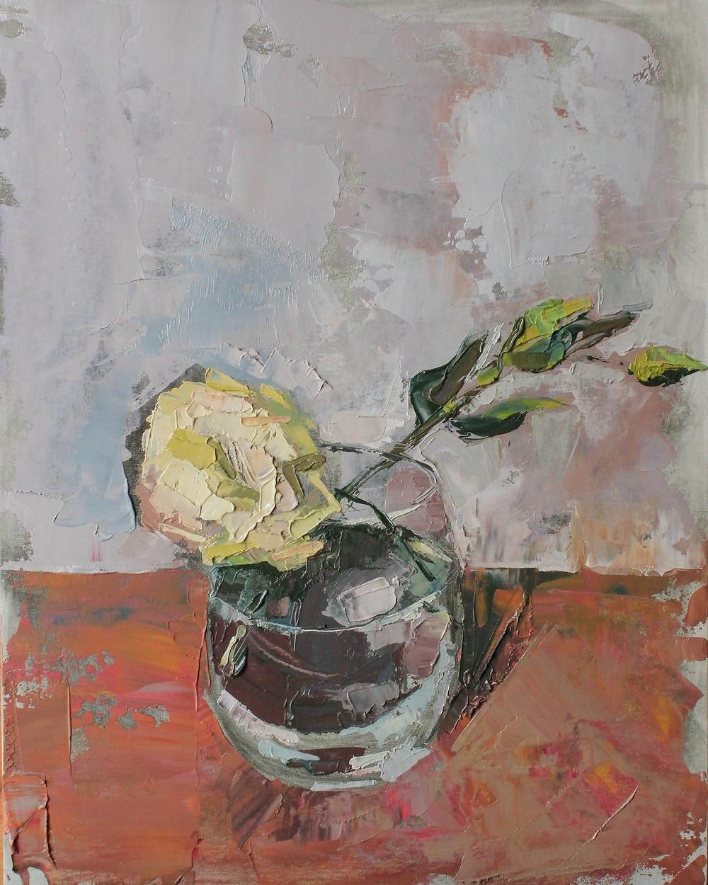 "impasto flower painting strokes ""Marie Pol"" cream floral"