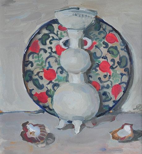 Vase and Dish With Pomegranates by YAROSLAVA TICHSHENKO