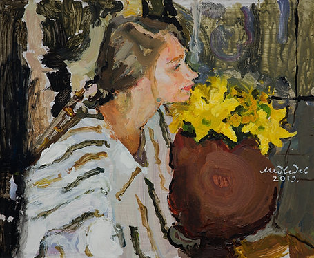 Girl With a Yellow Flower by EUGENY MEDVEDEV