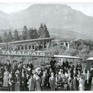 September 7, 1915 - A busy day during the busiest year of the scenic railway, with three trains at work. San Francisco's 1915 World's Fair, a two mile long city of palaces, domes and towers along the city's northern waterfront, tested the limits of the railway. Almost nineteen million people came from all over the world to visit the fair. An average of 700 passengers a day rode the trains to the summit or into Muir Woods during the summer months. (And parking was never ever a problem.)