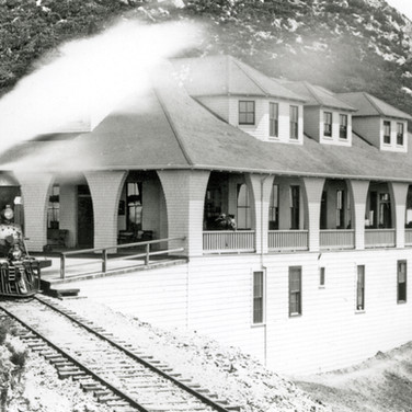 """circa 1896 - Engine No. 2 (""""the bull"""") at the first Tavern of Tamalpais. The modest Inn had eight guest rooms upstairs and a small restaurant in the ground floor."""