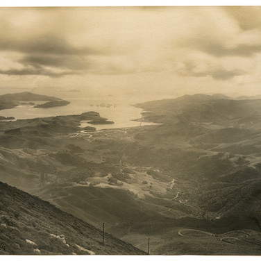 circa 1900 - The view from the Tavern of Tamalpais, near the summit, looking toward Mill Valley and San Francisco.