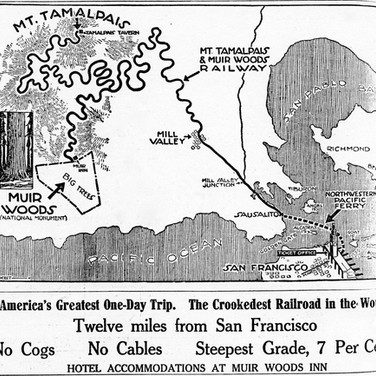 1925 Advertisement for the Crookedest Railroad is a bit of a caricature but shows the route for most passengers, from San Francisco's Ferry Building by ferry to Sausalito, a train to Mill Valley and the scenic railway to the summit. The map exaggerates the twisting route up the mountain, but not much. There were 281 turns and curves between Mill Valley and the Tavern of Tamalpais.