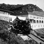 circa 1902 - The most elegant view of the grand Tavern of Tamalpais and engine No. 3. This photo was used extensively by the railroad in brochures. Large prints also hung in the railroad's Inns to promote to promote its features.