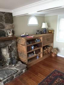 reclaimed pumpkin pine built-in bookshel