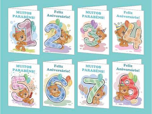 Cartão idades (1 a 8) - lote de 24 - 3 de cada