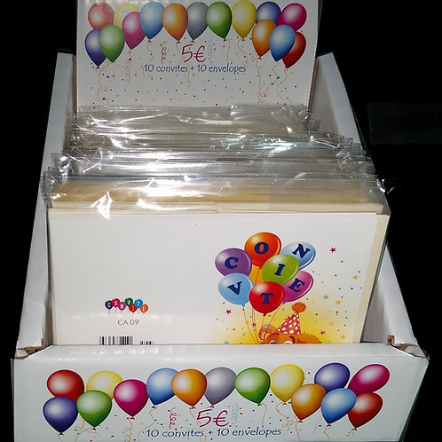 Blister 10 Convites Anivº + 10 envelope - expositor balcão com 20 blister