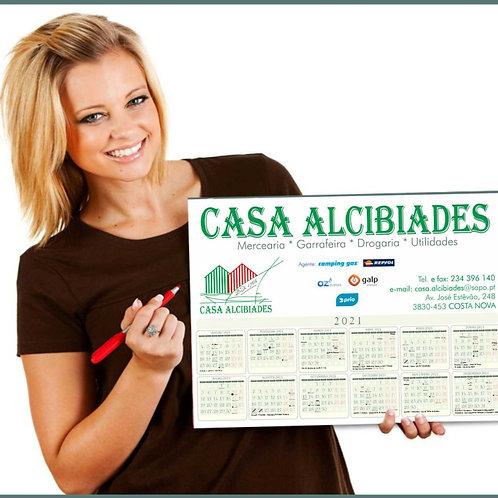 Calendário plano 45x32cm cartolina - lote 100