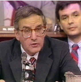 Sen. George Mitchell questions Lt. Col. Oliver North