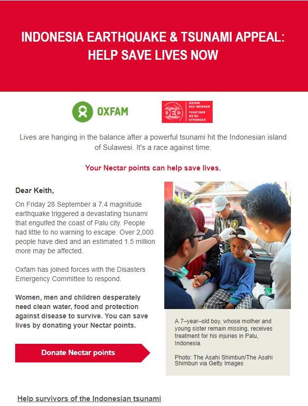 Oxfam nectar donation