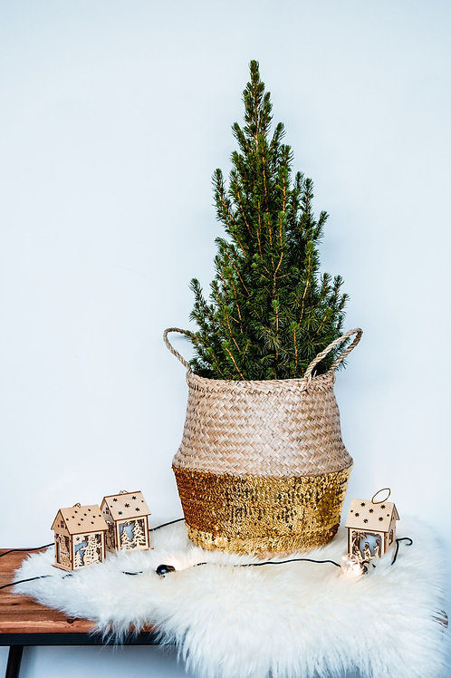 Seagrass Sequin Lined Basket