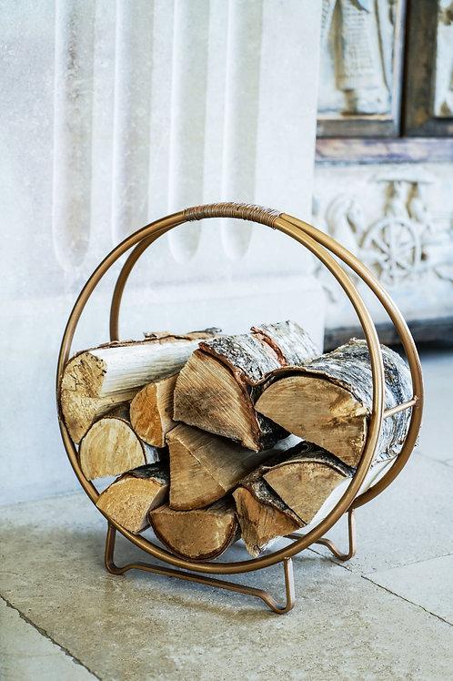 Contemporary Round Copper Log Holder