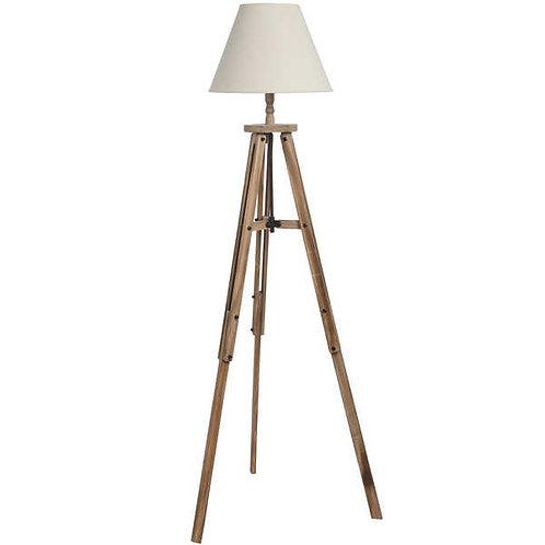 Large Wooden Tripod Floor Lamp