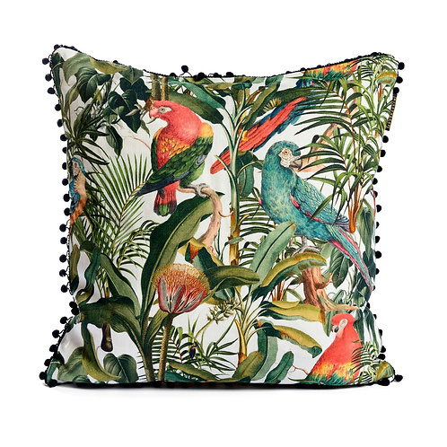 Mind the Gap Parrots of Brazil Linen Cushion