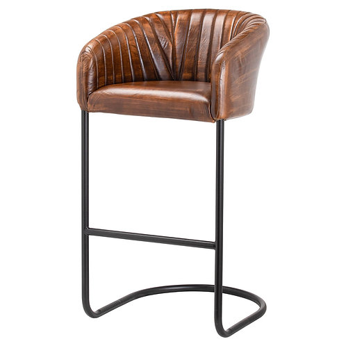 Leather Ribbed Bar Chair
