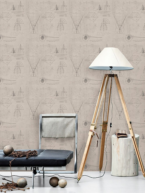 Mind the Gap - Newton Geometry Taupe Wallpaper